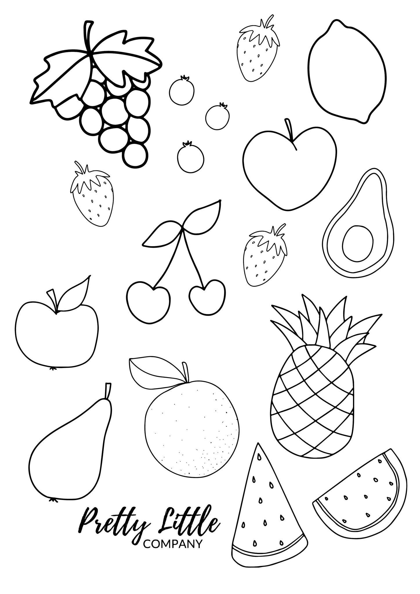 Cute Fruit Colouring Pages Free Download Pretty Little Company