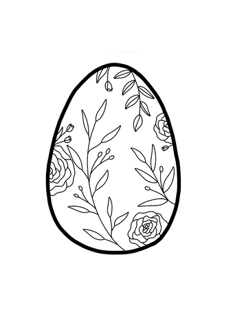 Floral Easter Egg Colouring Page 1 - Free Download