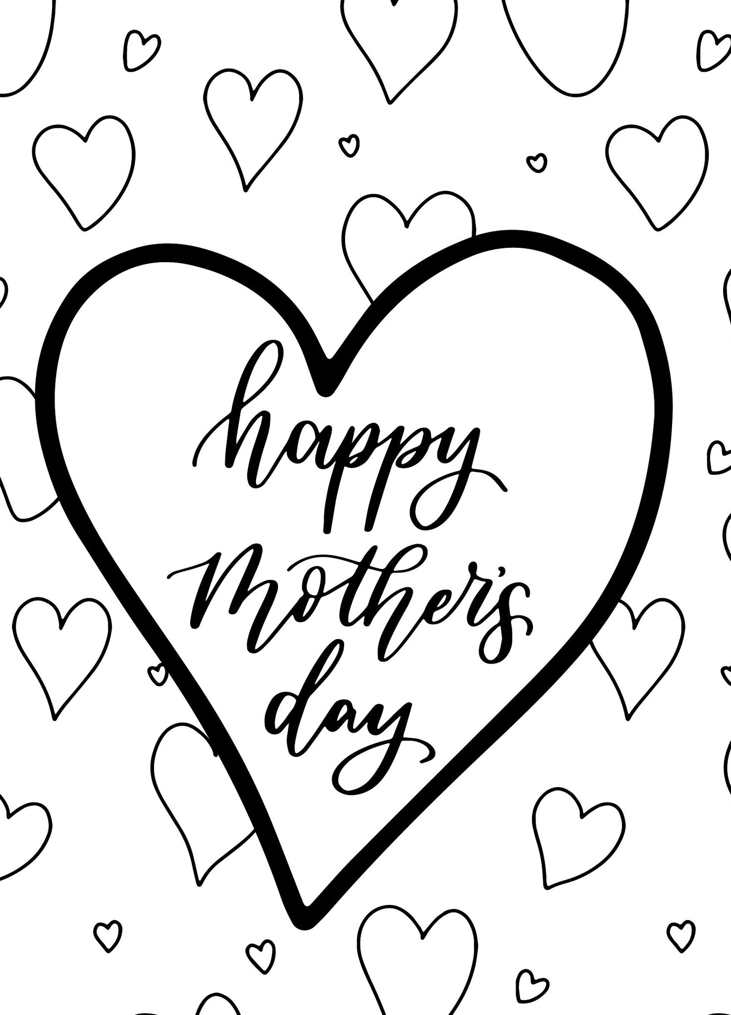Mother's Day Colouring Card Hearts - Free Download