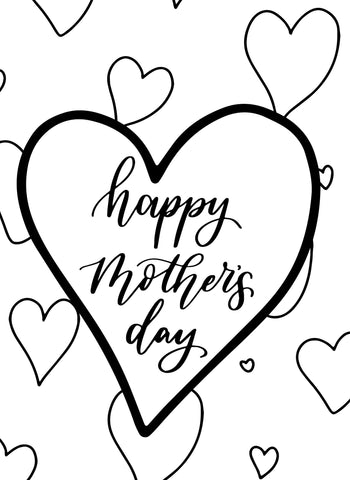 Mother's Day Colouring Card Large Hearts - Free Download