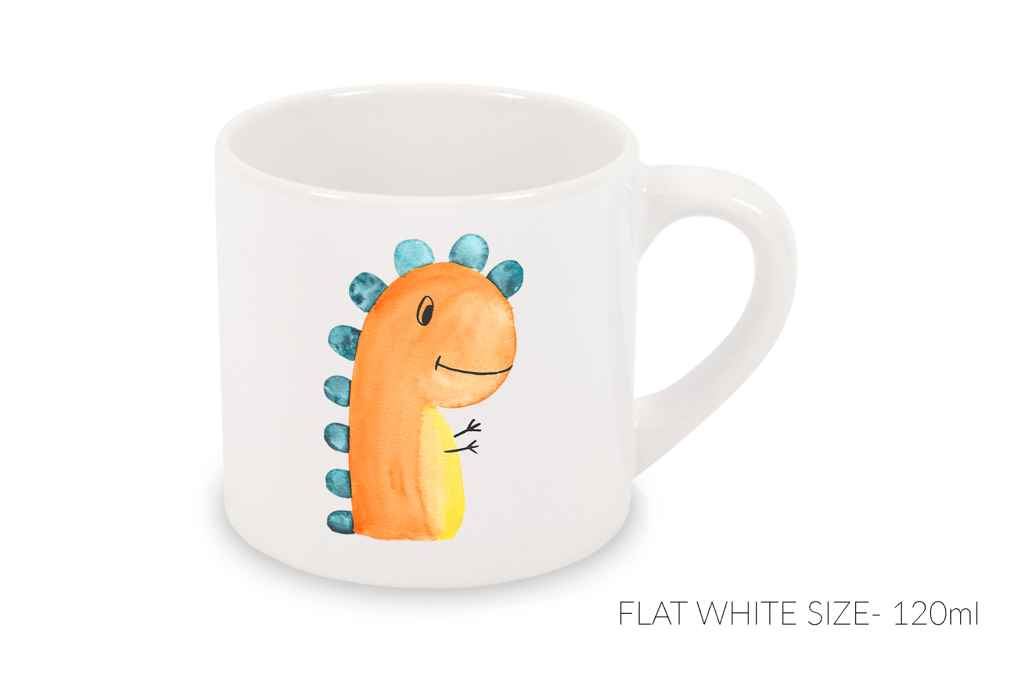 Flat White Mug 120ml - Orange Dinosaur
