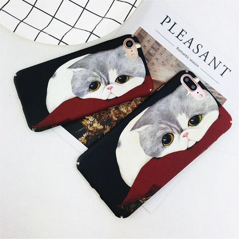 Cute Lazy Chubby Cat Phone Cover