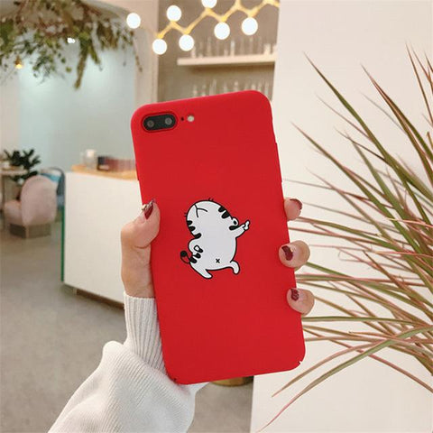 Funny Cat Red Phone Case