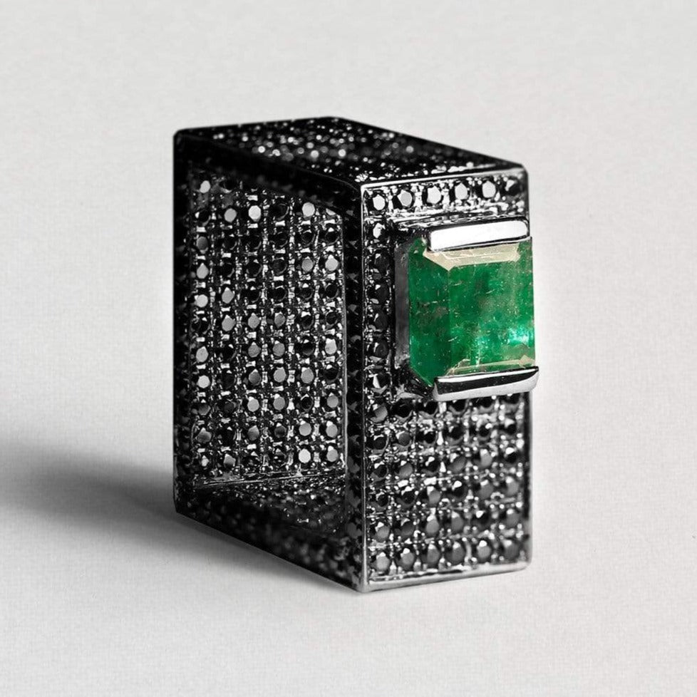Igraine Ring, Emerald, Exclusive, gray, Rhodium, Sapphire, spo-disabled, StoneColor:Green, Style:Statement Ring