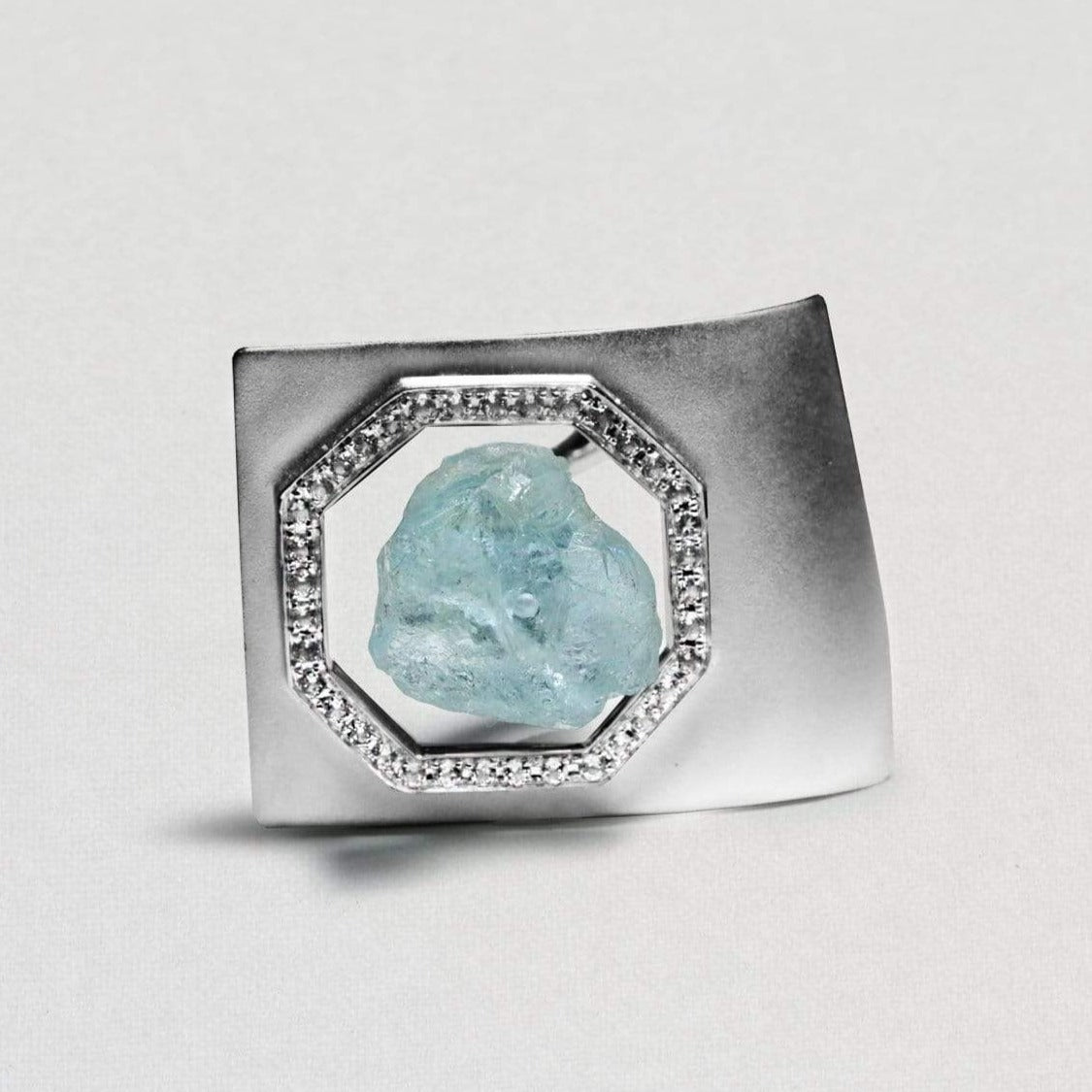Naevia Ring, Aquamarine, Exclusive, Rhodium, Sapphire, silver, spo-disabled, StoneColor:Blue, Style:Statement, Type:LargeSoloStone Ring
