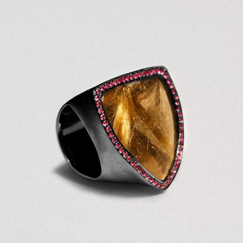 Clarity Ring, Exclusive, gray, Quartz, Rhodium, Ruby, spo-disabled, StoneColor:Orange, Style:Statement, Type:LargeSoloStone Ring
