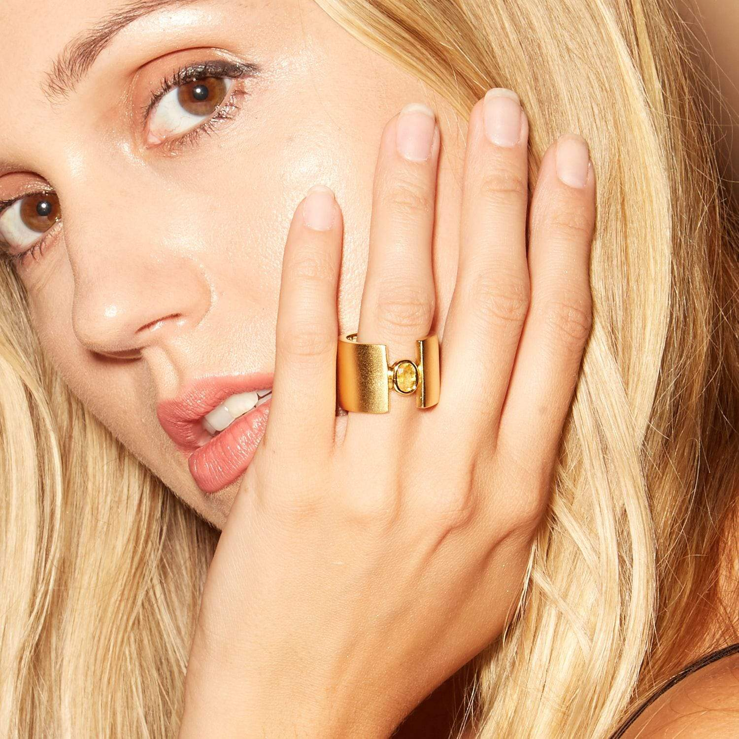 Andrina Ring, Citrine, Exclusive, Gold, Sapphire, spo-disabled, StoneColor:Orange, Style:Everyday Ring