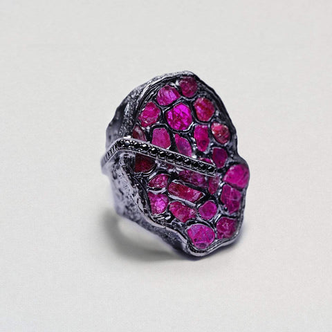 Passionata Ring, Exclusive, gray, Rhodium, Ruby, Sapphire, spo-disabled, StoneColor:PinkRuby, Style:Statement, Type:StainedGlass Ring