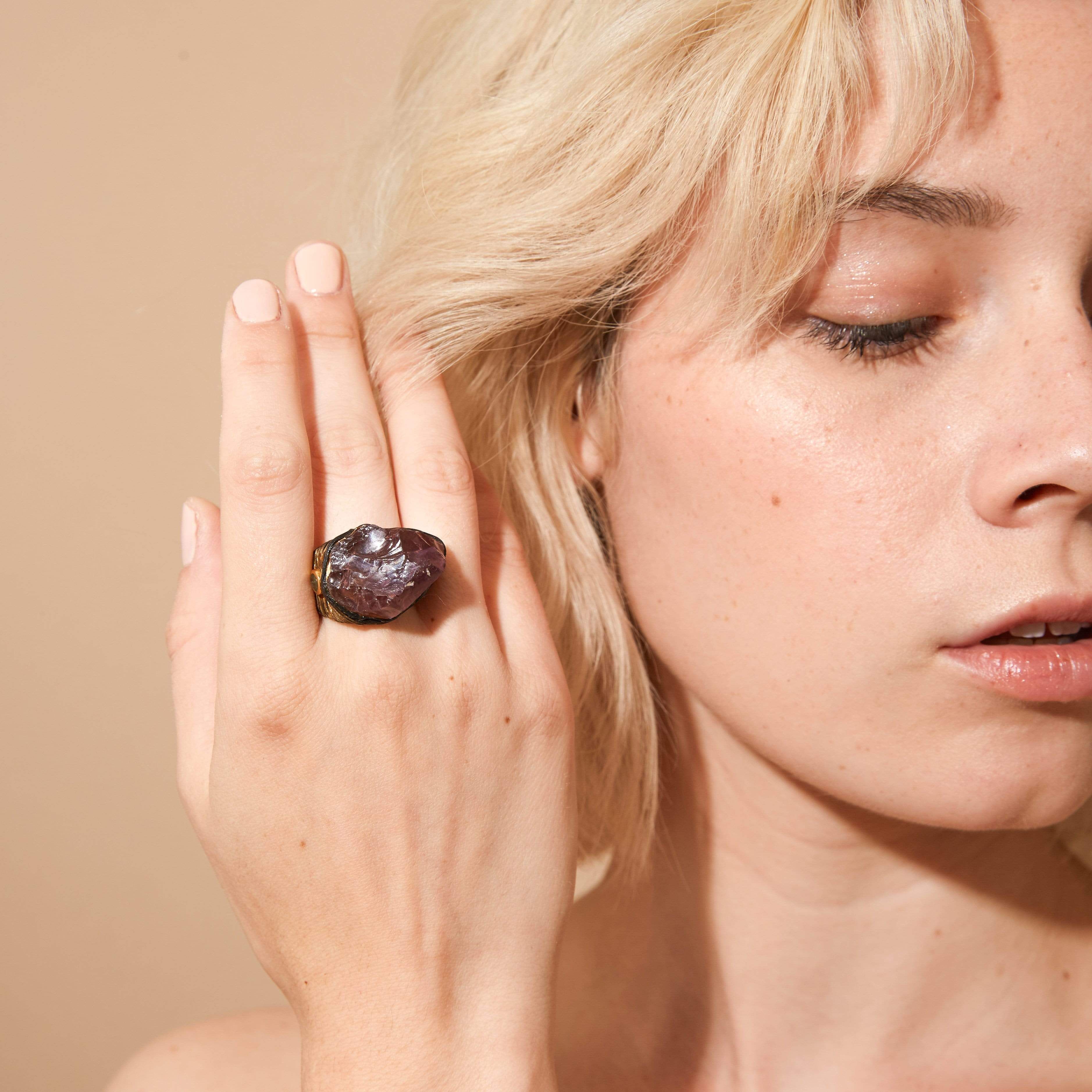 Rhea Ring, Amethyst, Anthracite, black, Exclusive, Gold, spo-disabled, StoneColor:purple, Style:Statement, Type:LargeSoloStone Ring