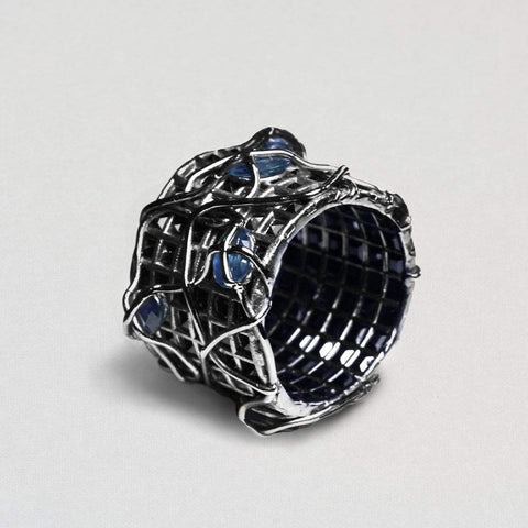 Urnua Ring, Exclusive, gray, Rhodium, Sapphire, spo-disabled, StoneColor:DeepBlue, Style:Everyday, Type:StoneCandyWired Ring