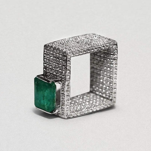 Erin Ring, Emerald, Exclusive, Rhodium, Sapphire, silver, spo-disabled, StoneColor:Green, Style:Statement Ring