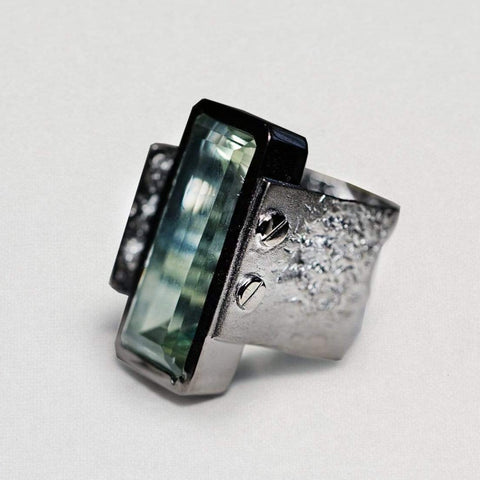 Cara Ring, Amethyst, Exclusive, gray, Rhodium, spo-disabled, StoneColor:Green, Style:Statement, Type:LargeSoloStone Ring
