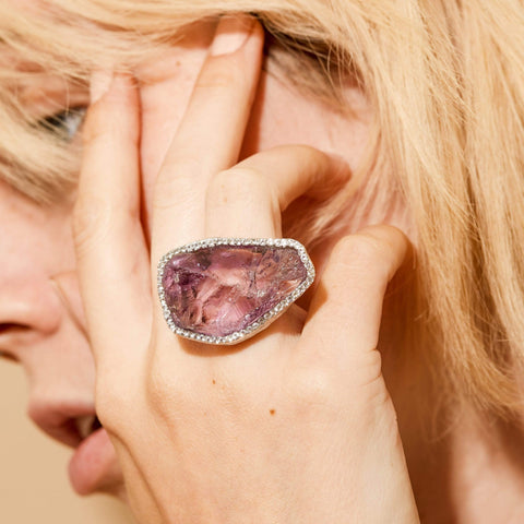 Empress Ring, Amethyst, Exclusive, Rhodium, Sapphire, silver, spo-disabled, StoneColor:purple, Style:Statement, Type:LargeSoloStone Ring
