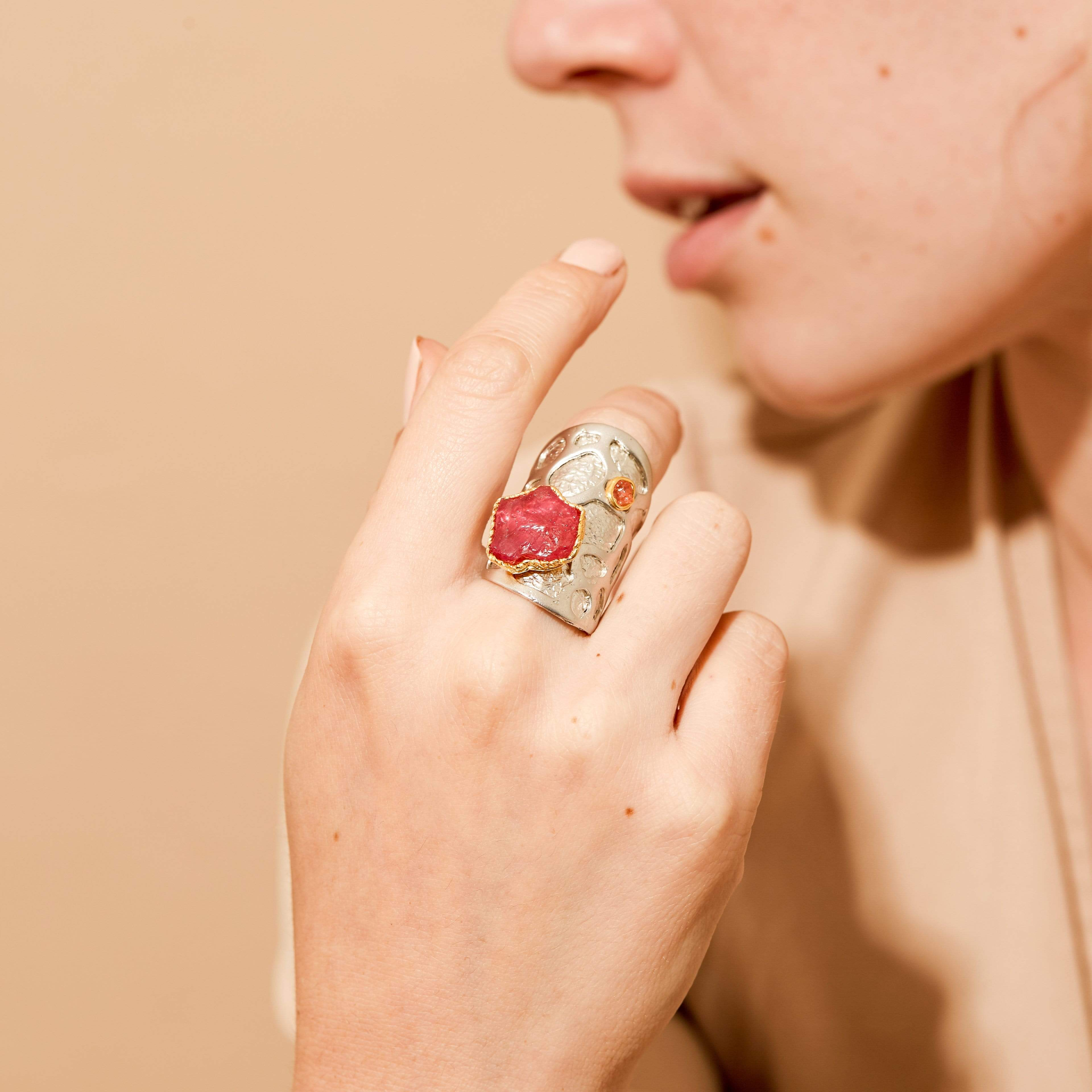 Arinna Ring, Exclusive, Gold, Rhodium, Ruby, silver, spo-disabled, StoneColor:PinkRuby, Style:Statement, Type:LargeSoloStone Ring