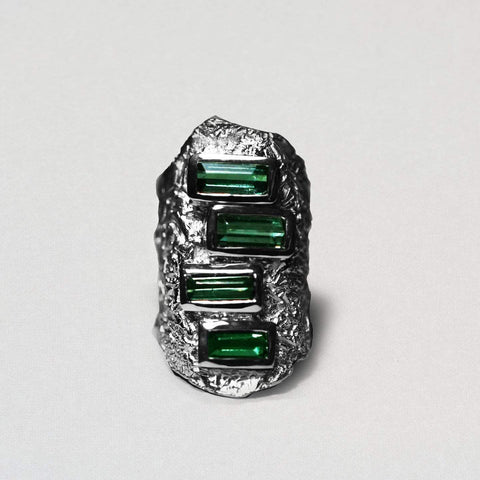 Jadis Ring, Exclusive, Rhodium, silver, spo-disabled, StoneColor:Green, Style:Everyday, Tourmaline Ring