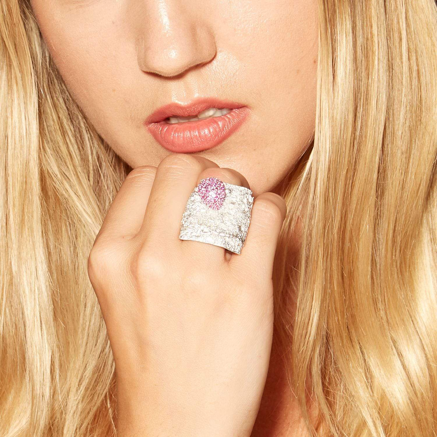 Vitale Ring, Exclusive, Rhodium, Ruby, silver, spo-disabled, StoneColor:PinkRuby, Style:Statement Ring