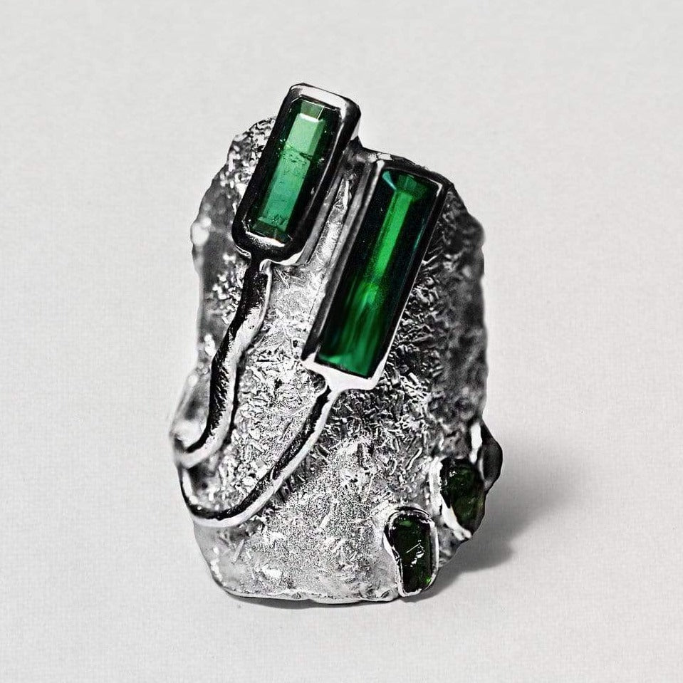 Veritas Ring, Exclusive, Rhodium, silver, spo-disabled, StoneColor:Green, Style:Everyday, Tourmaline Ring