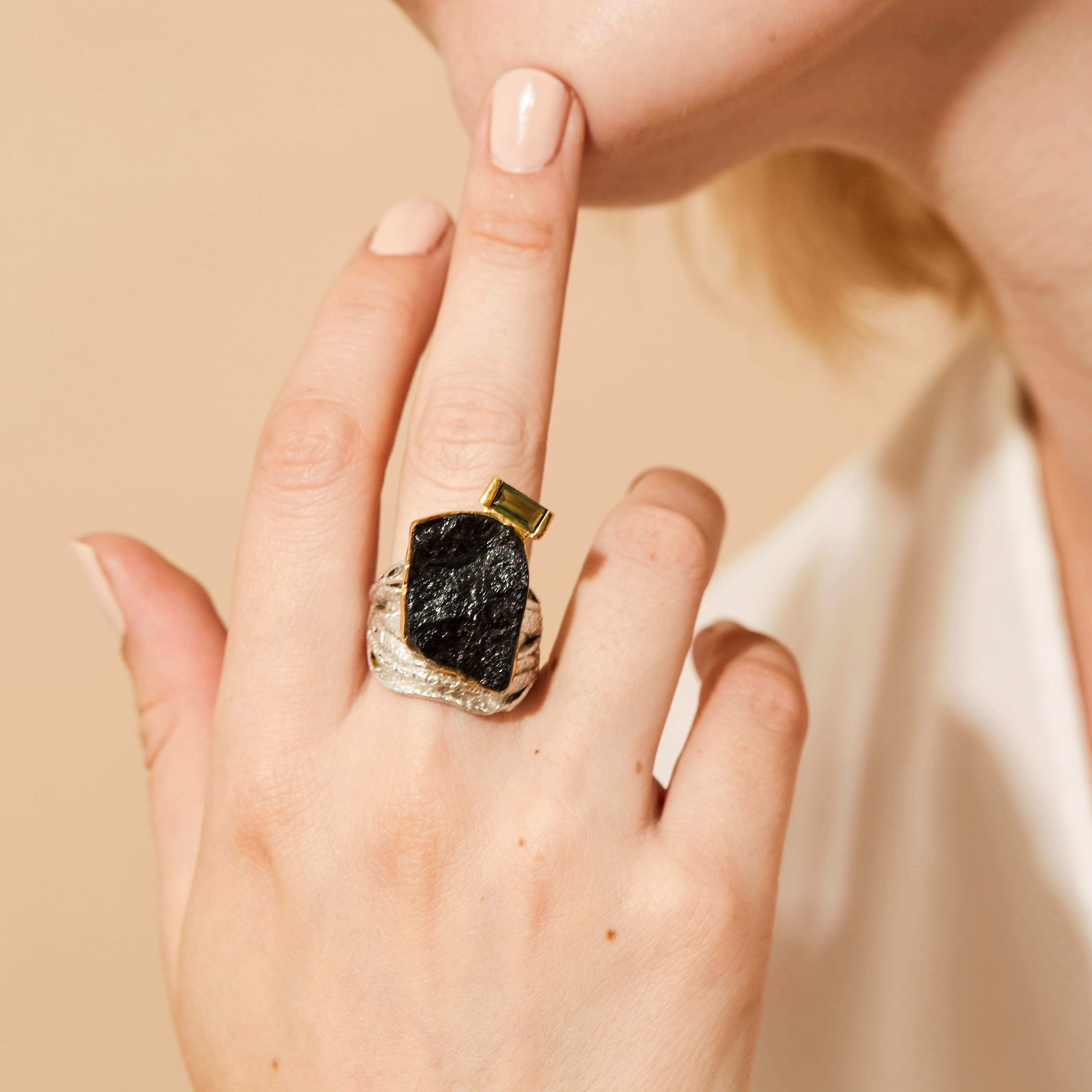 Melyn Ring, Exclusive, Gold, Rhodium, silver, spo-disabled, StoneColor:Green, Style:Fantasy, Tourmaline, Type:LargeSoloStone Ring