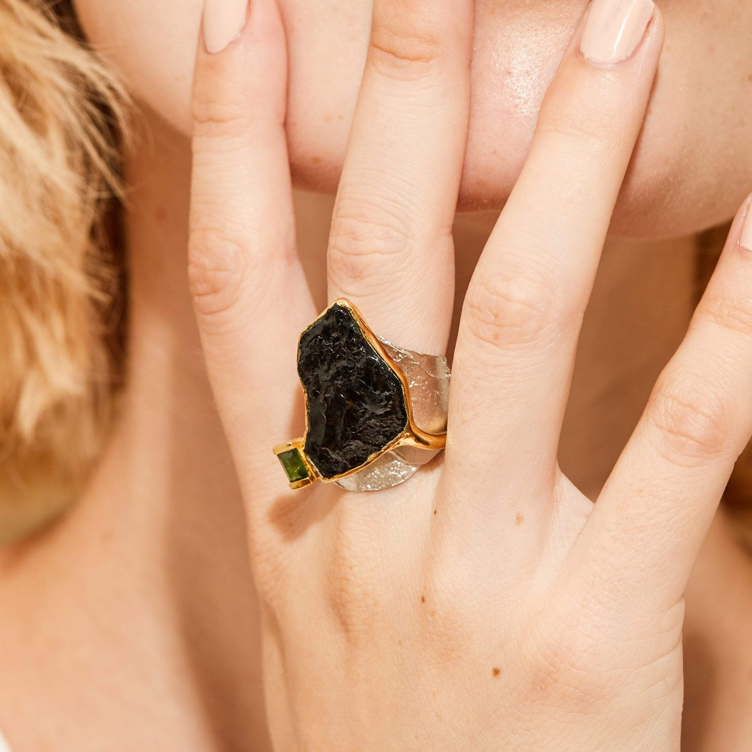 Alia Ring, Exclusive, Gold, gray, Rhodium, spo-disabled, StoneColor:Black, StoneColor:Green, Style:Fantasy, Tourmaline, Type:LargeSoloStone Ring
