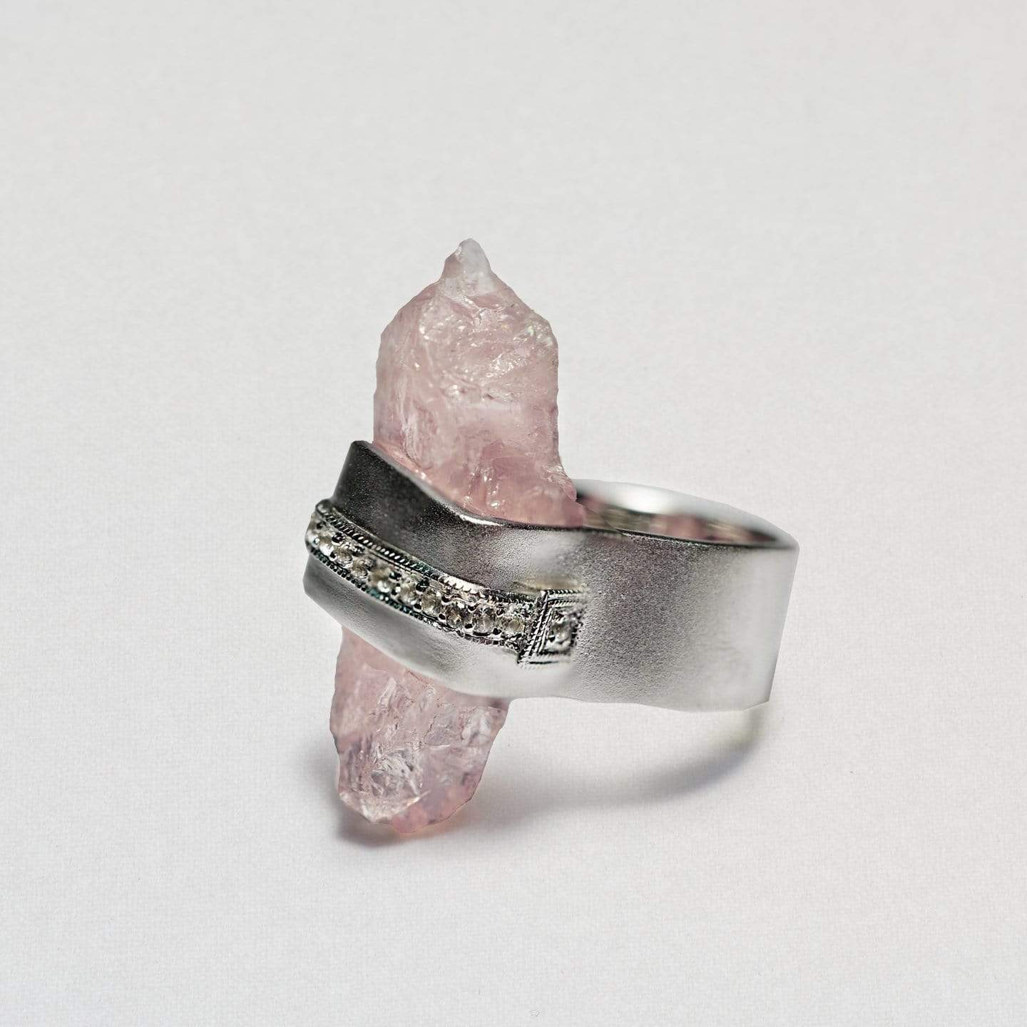 Rosa Ring, Exclusive, Quartz, Rhodium, silver, spo-disabled, StoneColor:PastelColor, Style:Statement, Type:LargeSoloStone Ring