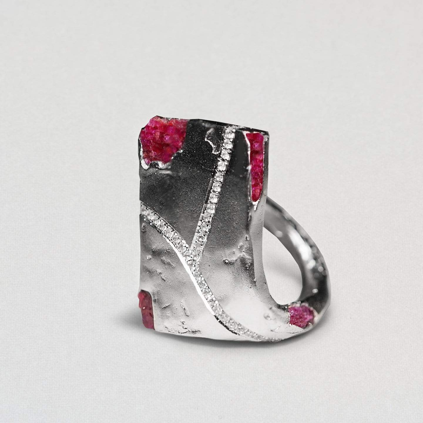 Mae Ring, Exclusive, Rhodium, Ruby, Sapphire, silver, spo-disabled, StoneColor:PinkRuby, Style:Statement Ring