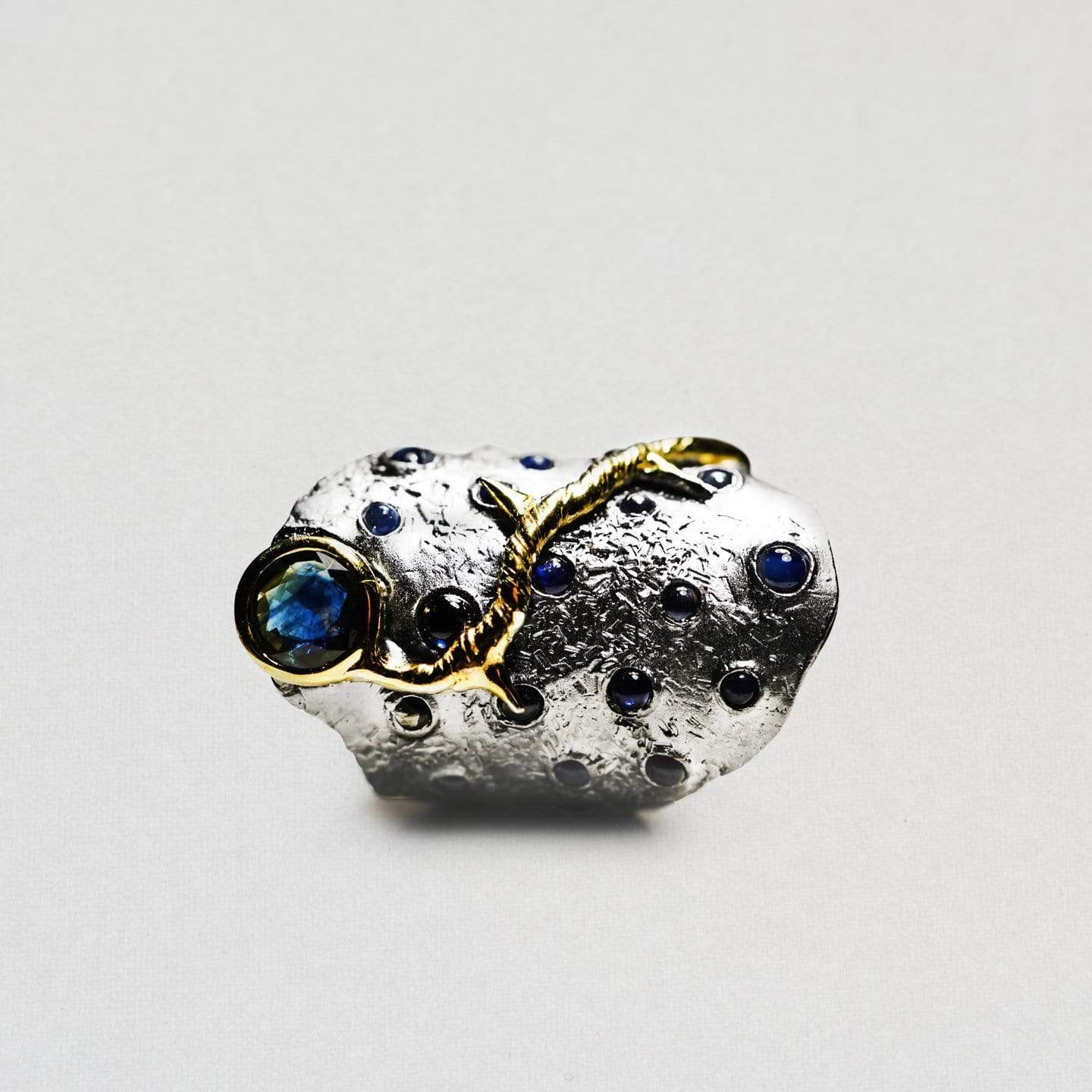 Cassia Ring, Exclusive, Gold, gray, Rhodium, Sapphire, spo-disabled, StoneColor:DeepBlue, Style:Everyday, Type:StoneCandyScattered Ring