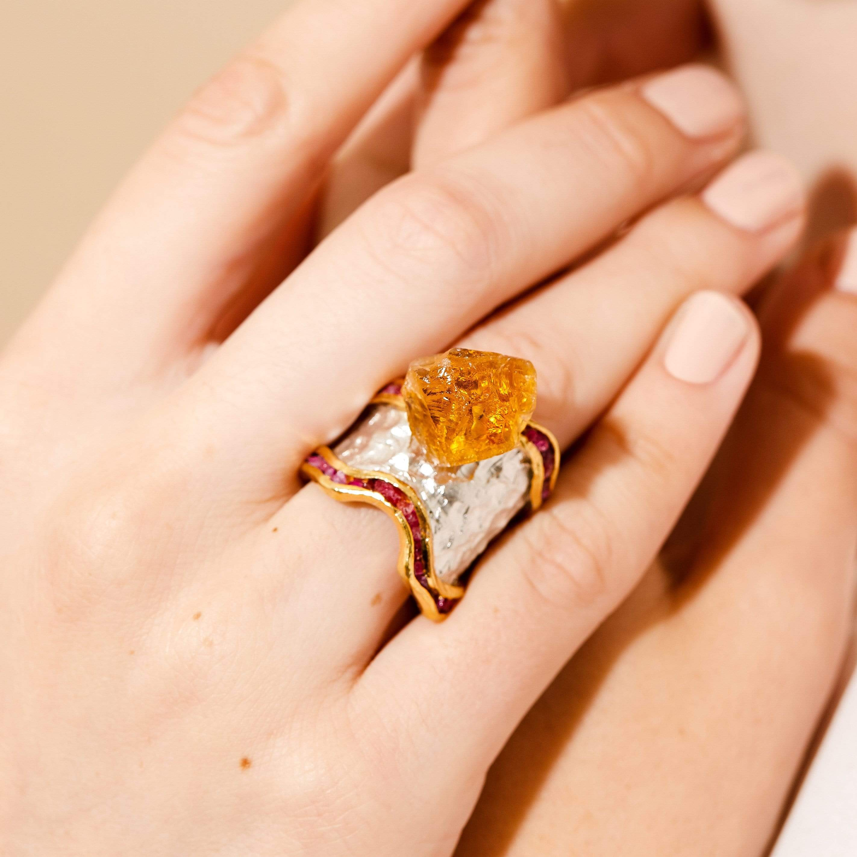 Meridia Ring, Citrine, Exclusive, Gold, Rhodium, Ruby, silver, spo-disabled, StoneColor:Orange, Style:Statement, Type:LargeSoloStone Ring