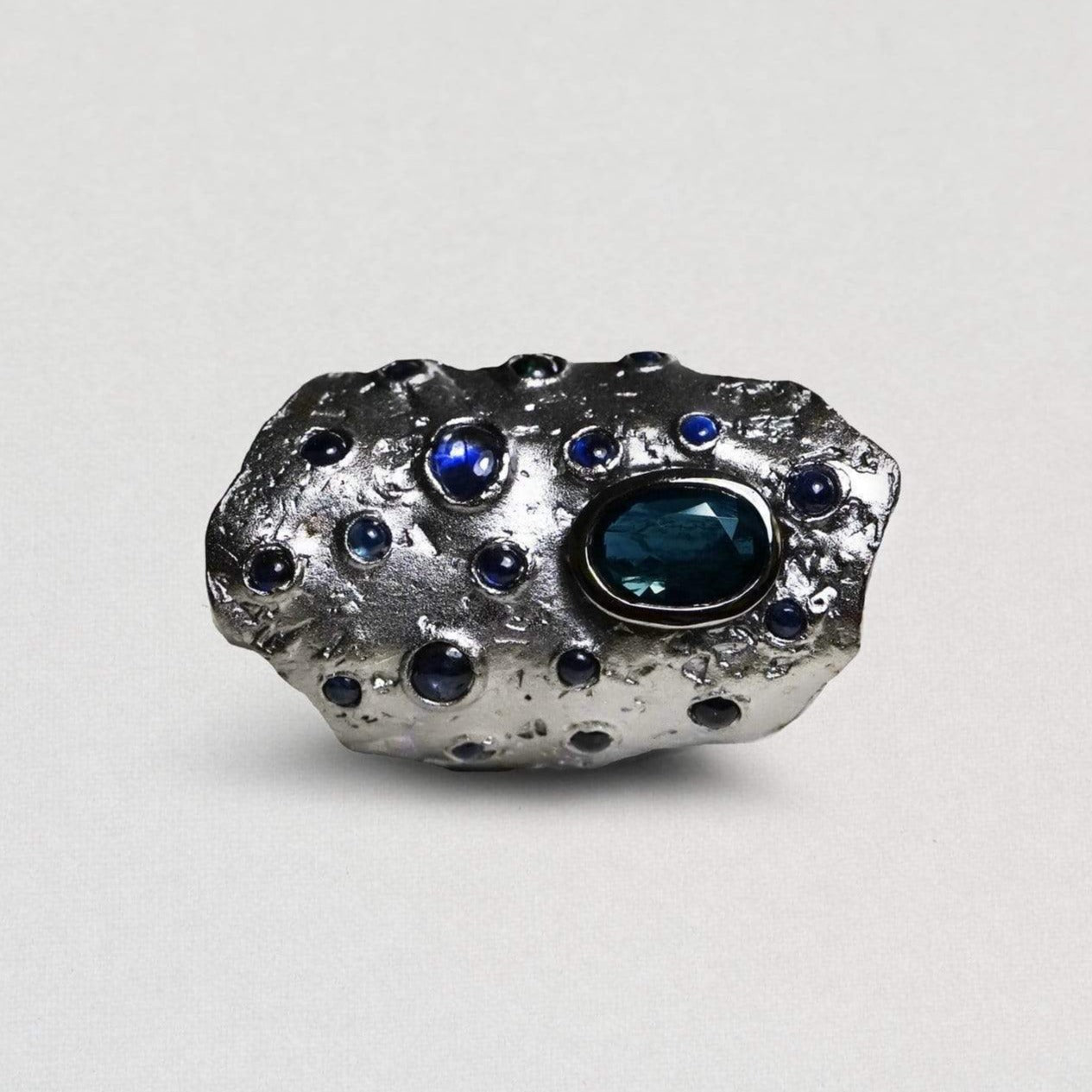 Sanctus Ring, Exclusive, gray, Rhodium, Sapphire, spo-disabled, StoneColor:DeepBlue, Style:Everyday, Type:StoneCandyScattered Ring