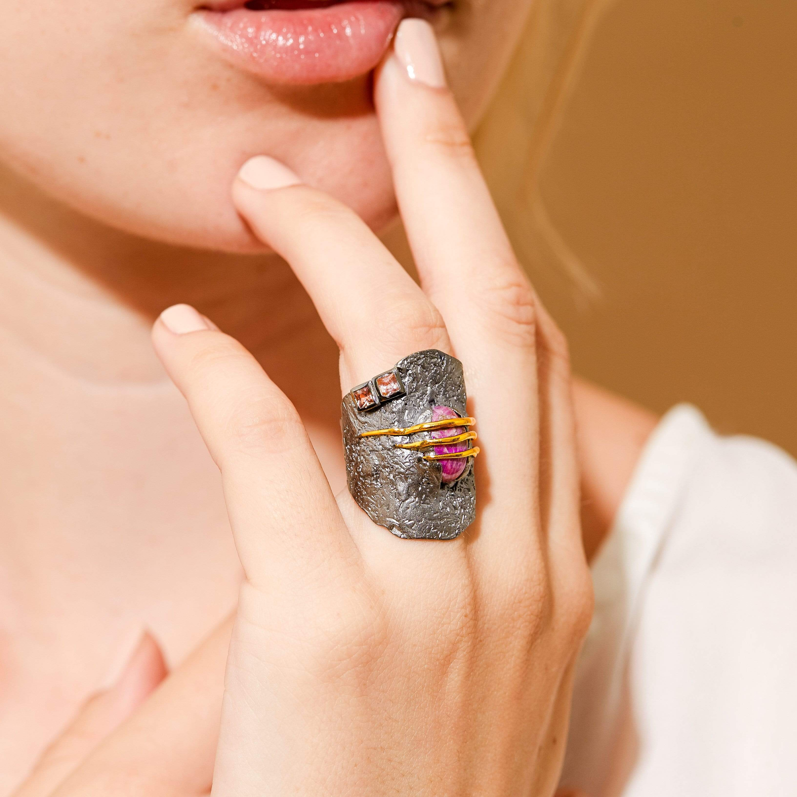 Searle Ring, Exclusive, Gold, gray, Rhodium, Ruby, Sapphire, spo-disabled, StoneColor:Pink, Style:Everyday, Type:StoneCandyWired Ring