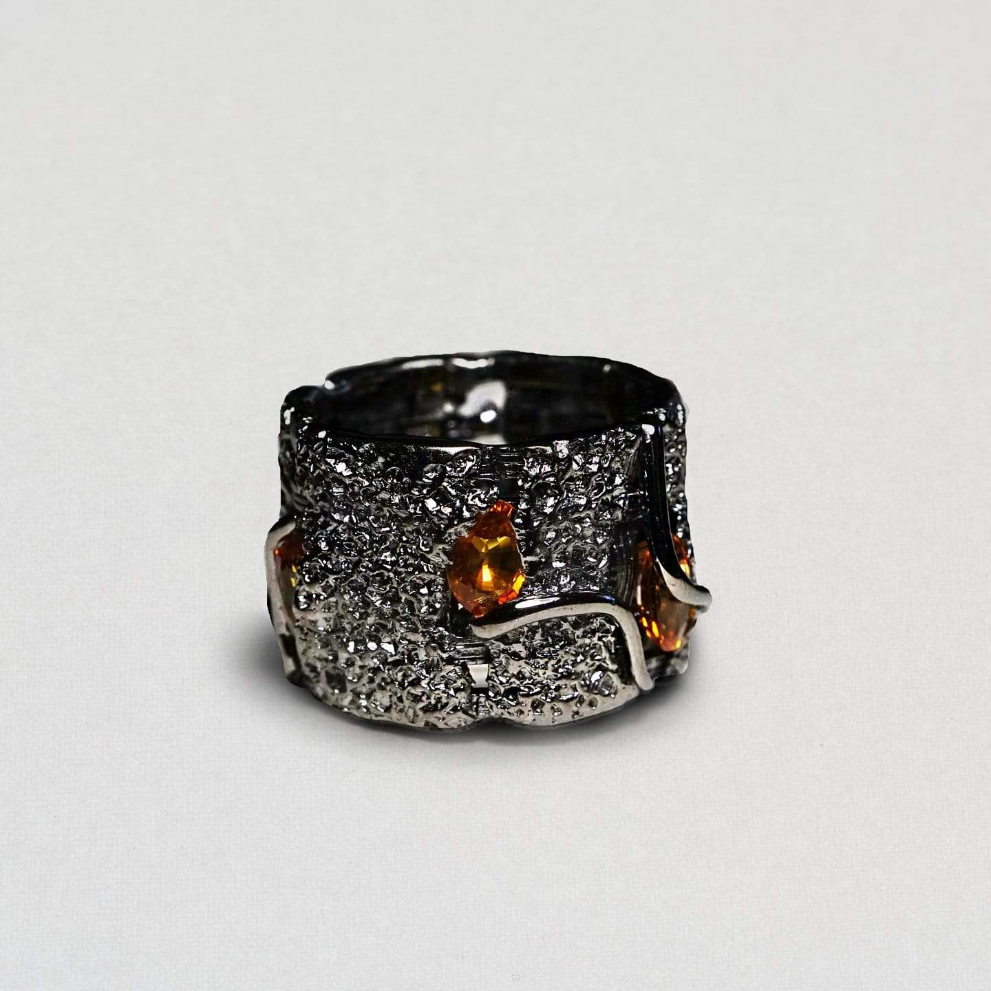 Hamadia Ring, Exclusive, gray, Rhodium, Sapphire, StoneColor:Orange, Style:Everyday, Type:StoneCandyScattered Ring