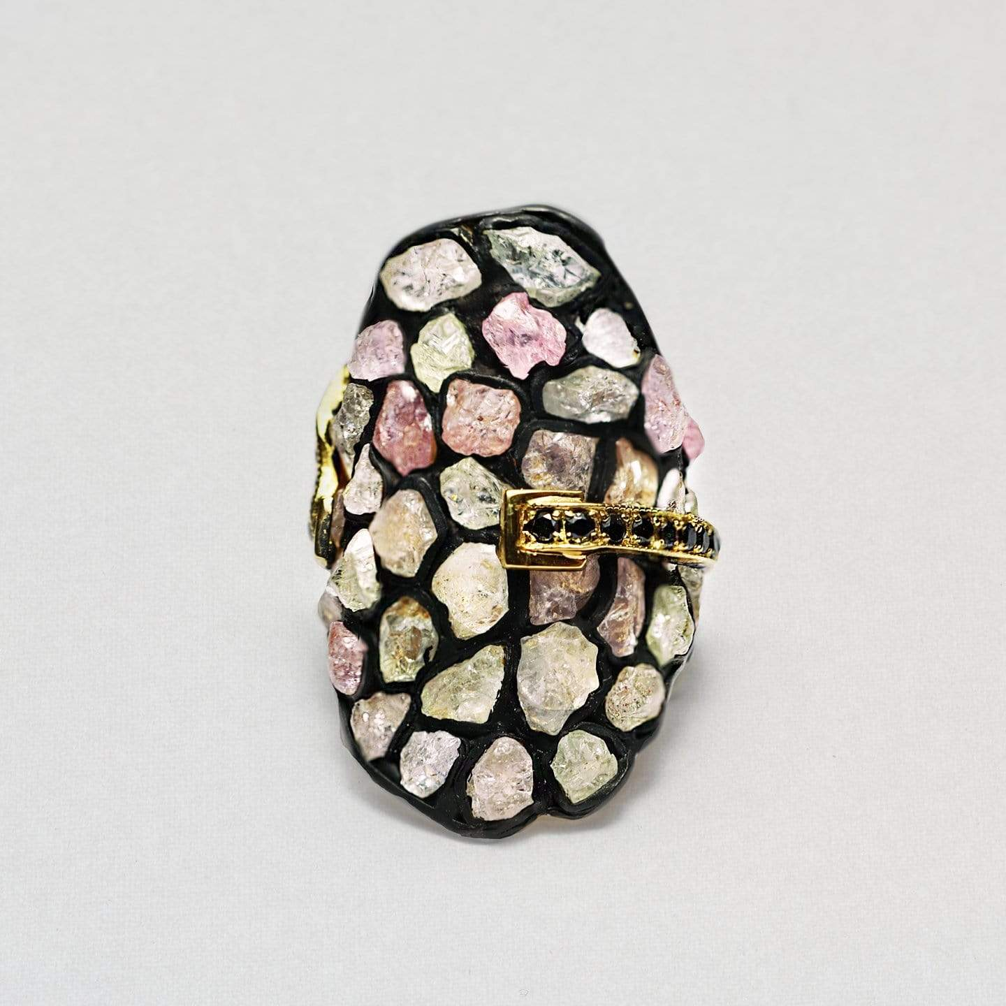 Mariana Ring, Anthracite, black, Exclusive, Gold, Sapphire, Spinel, spo-disabled, StoneColor:PastelColor, Style:Statement, Type:StainedGlass Ring
