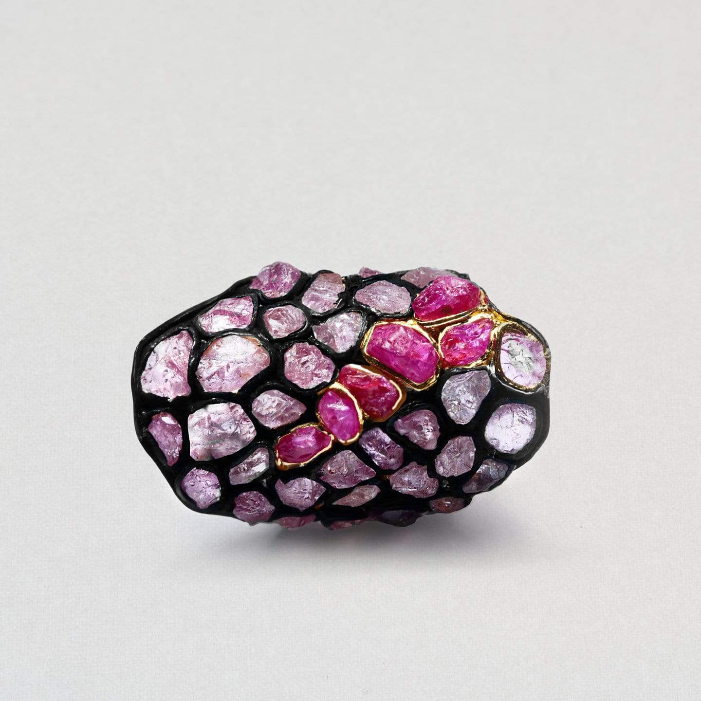 Ceponia Ring, Anthracite, black, Exclusive, Gold, Ruby, Spinel, spo-disabled, StoneColor:PinkRuby, Style:Statement, Type:StainedGlass Ring