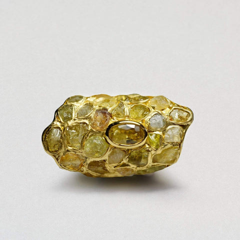 Flavia Ring, Exclusive, Gold, Quartz, Sapphire, spo-disabled, StoneColor:Yellow, Style:Statement, Type:StainedGlass Ring