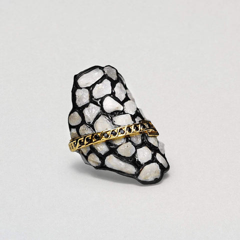 Candida Ring, Anthracite, black, Exclusive, Gold, Sapphire, Spinel, spo-disabled, StoneColor:Gray, StoneColor:White, Style:Statement, Type:StainedGlass Ring