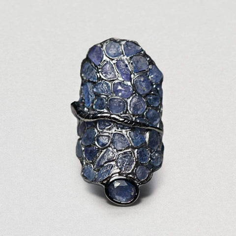 Boudica Ring, Exclusive, gray, Rhodium, Sapphire, spo-disabled, StoneColor:DeepBlue, Style:Statement, Type:StainedGlass Ring