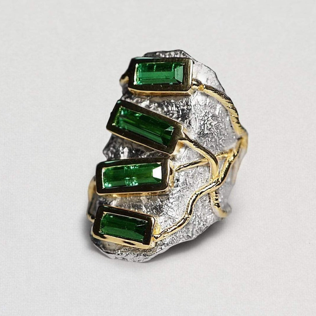 Minerva Ring, Exclusive, Gold, Rhodium, silver, spo-disabled, StoneColor:Green, Style:Everyday, Tourmaline Ring