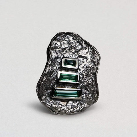 Delphina Ring, Exclusive, gray, Rhodium, spo-disabled, StoneColor:Green, Style:Statement, Tourmaline Ring