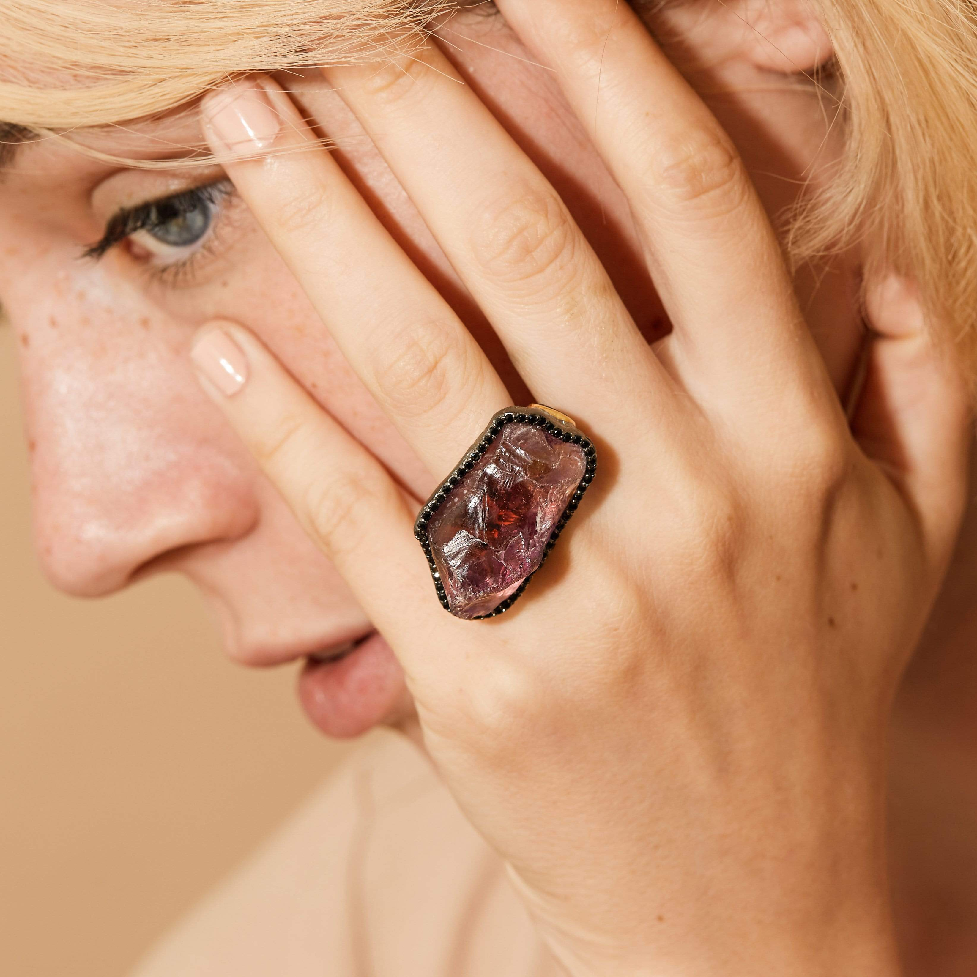 Albina Ring, Amethyst, Exclusive, Gold, gray, Rhodium, Spinel, spo-disabled, StoneColor:purple, Style:Statement, Type:LargeSoloStone Ring