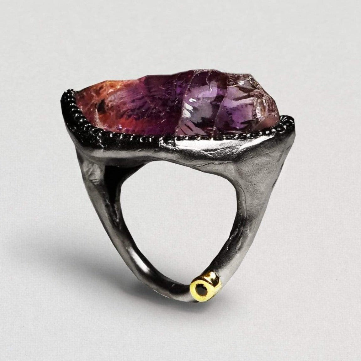 Marilla Ring, Amethyst, Exclusive, Gold, gray, Rhodium, Spinel, spo-disabled, StoneColor:purple, Style:Statement, Type:LargeSoloStone Ring