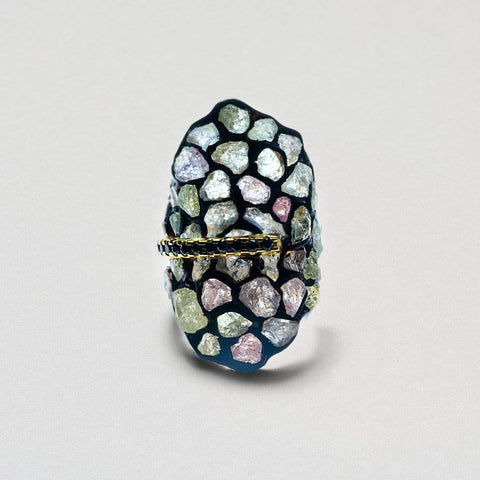 Ceridwen Ring, Anthracite, black, Exclusive, Gold, Sapphire, Spinel, spo-disabled, StoneColor:Green, StoneColor:PastelColor, Style:Statement, Type:StainedGlass Ring