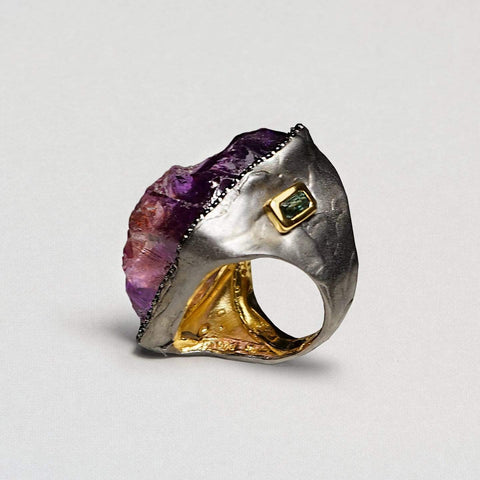 Agrona Ring, Amethyst, Exclusive, Gold, gray, Rhodium, Spinel, spo-disabled, StoneColor:purple, Style:Statement, Type:LargeSoloStone Ring