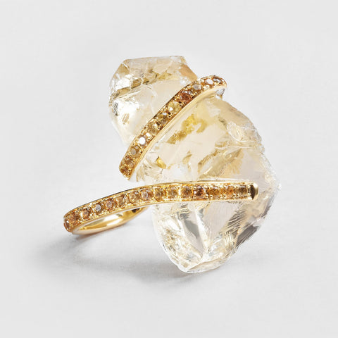 Damaine Citrine and Sapphire Ring