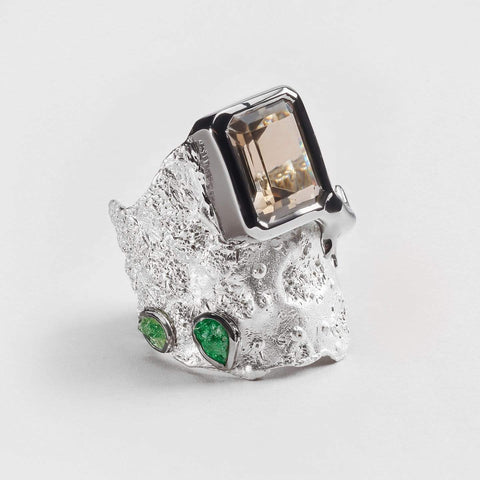 Cepha Quartz and Tsavorite Ring