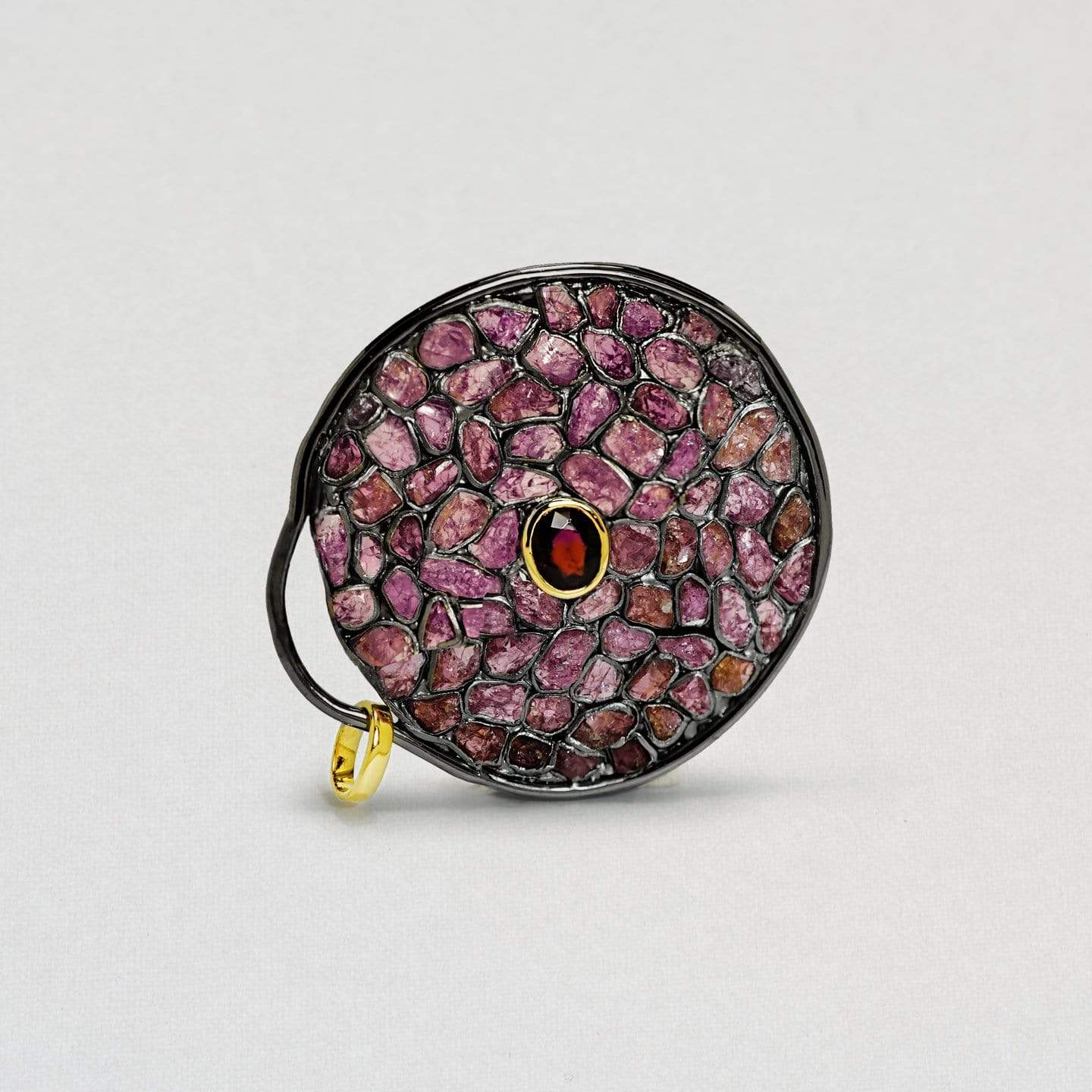 Jocasta Pendant, Exclusive, Garnet, Gold, gray, Rhodium, Ruby, spo-disabled, StoneColor:PinkRuby, Style:Statement, Type:StainedGlass Pendant