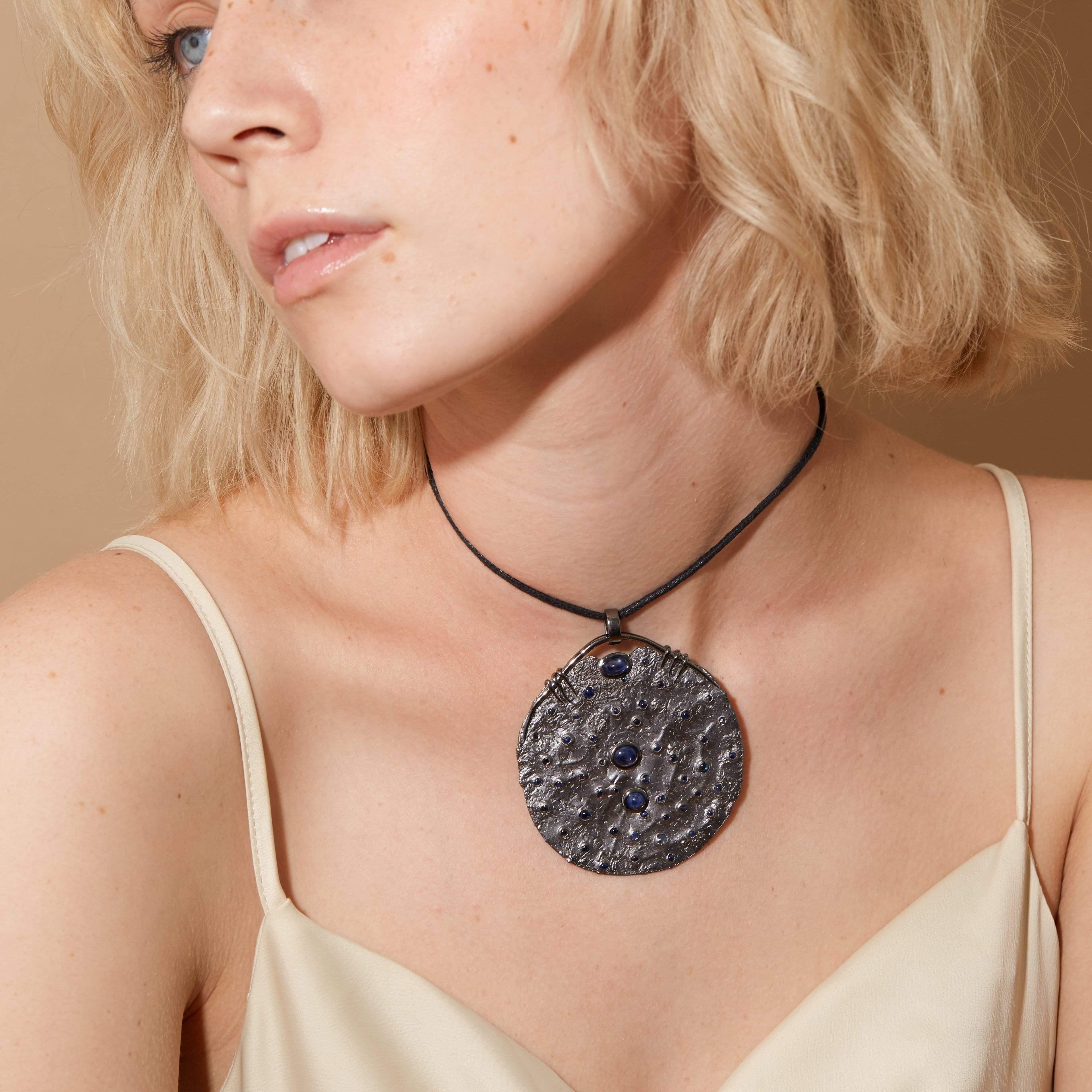 Kallista Pendant, Exclusive, gray, Rhodium, Sapphire, spo-disabled, StoneColor:Black, Style:Statement, Type:StoneCandyScattered Pendant