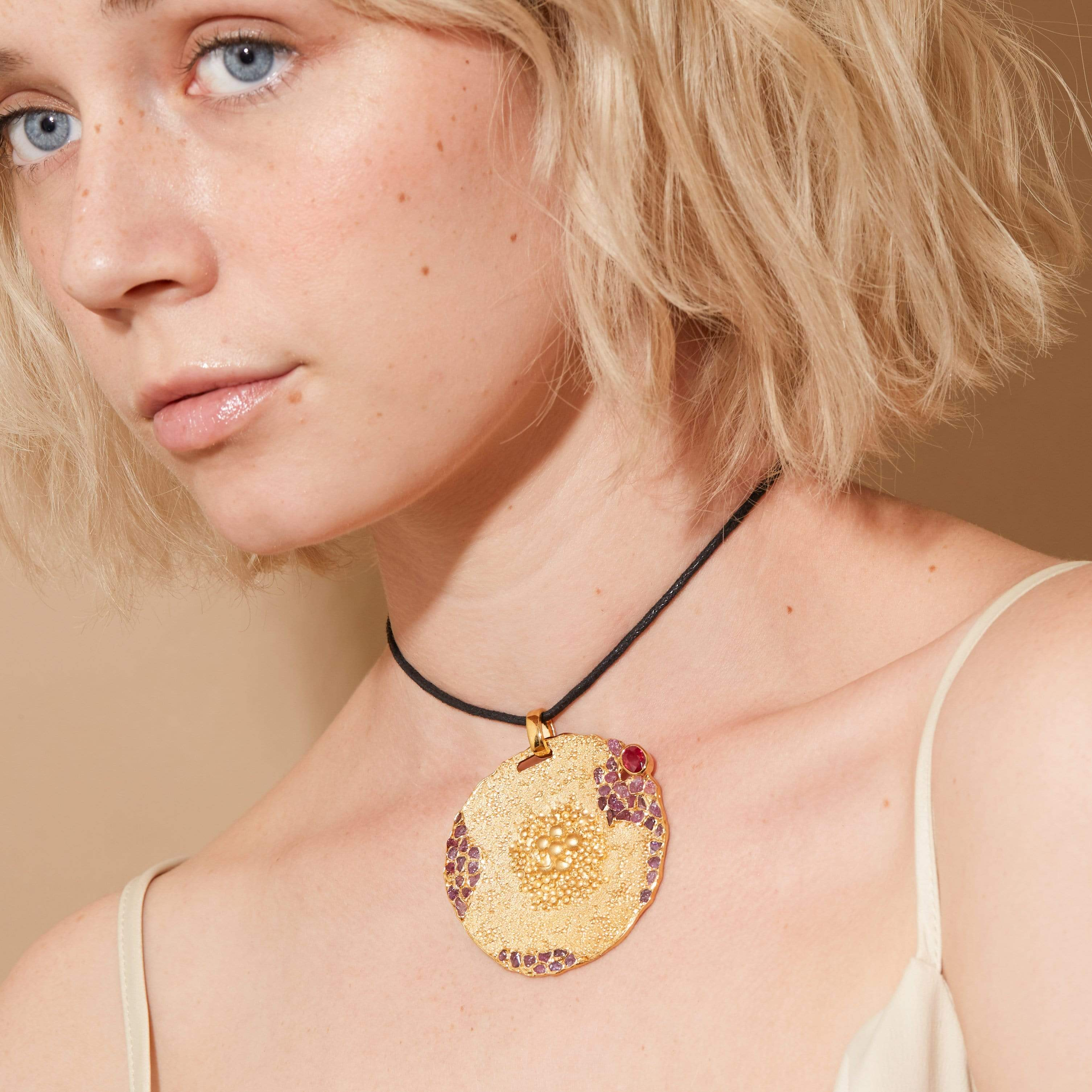 Danae Pendant, Exclusive, Gold, Ruby, spo-disabled, StoneColor:PinkRuby, Style:Statement, Type:StainedGlass Pendant