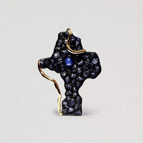 Alvina Pendant, Anthracite, black, Exclusive, Gold, Sapphire, spo-disabled, StoneColor:DeepBlue, Style:Statement, Type:StainedGlass Pendant