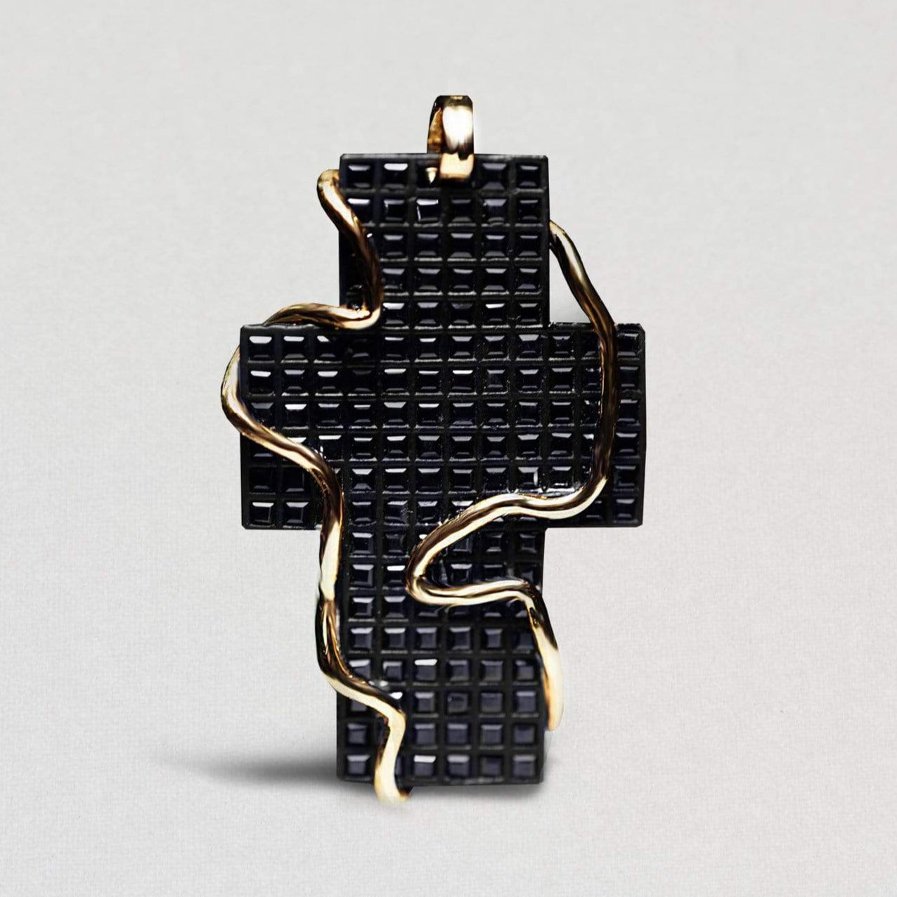 Dominia Pendant, Exclusive, Gold, gray, Rhodium, Sapphire, spo-disabled, StoneColor:Black, Style:Statement Pendant
