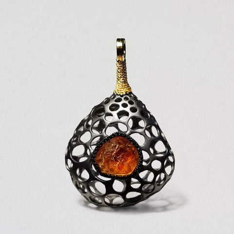 Grielle Pendant, Citrine, Exclusive, Gold, gray, Rhodium, Sapphire, StoneColor:Orange, Style:Fantasy Pendant