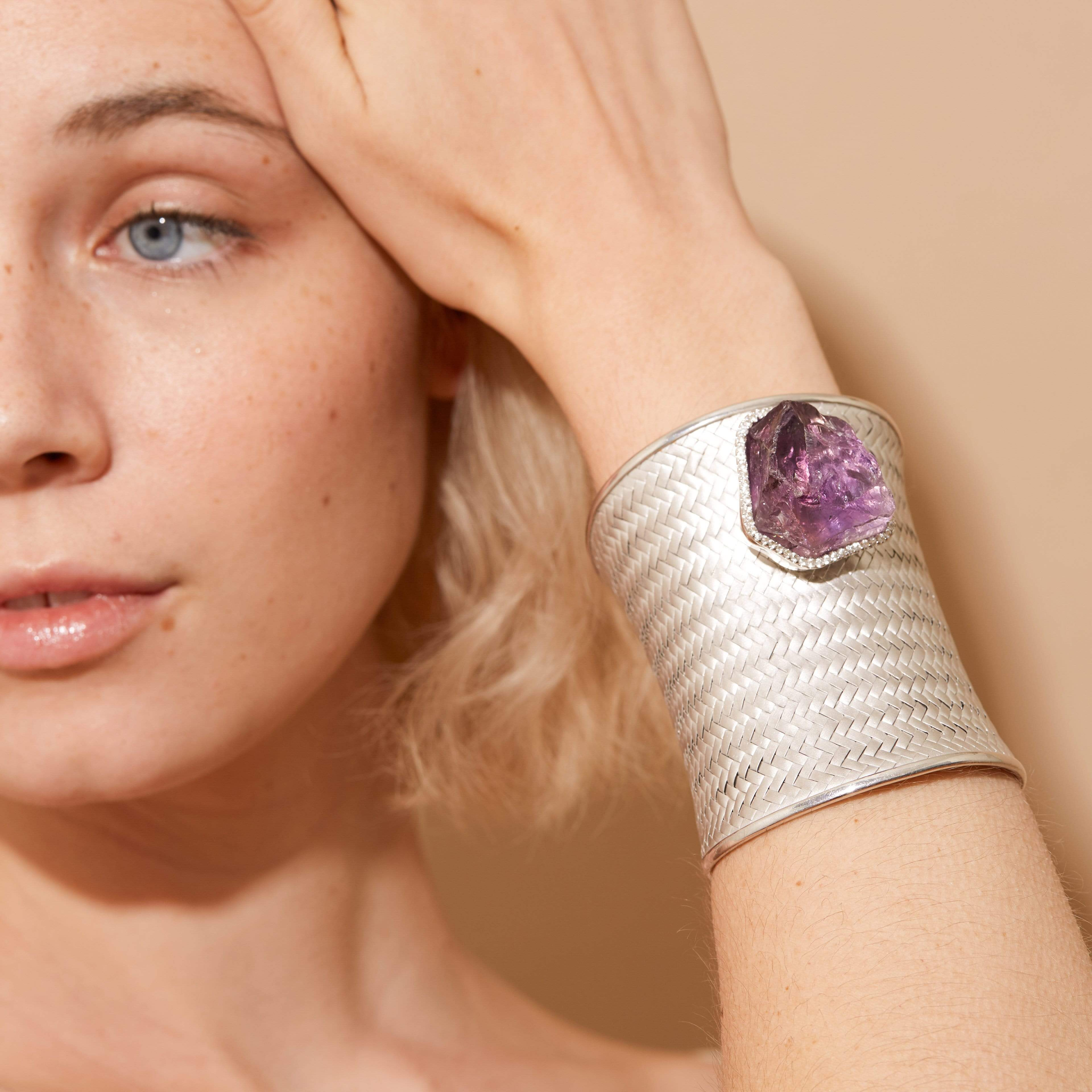 Astrum Bangle, Amethyst, Exclusive, Rhodium, silver, spo-disabled, StoneColor:purple, Style:Statement, Topaz Bangle